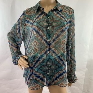 Chico's Shirt Blouse Semi Sheer Printed